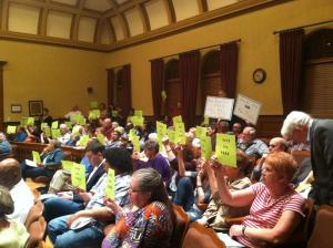 Save the Park supporters at City Hall in Peoria IL
